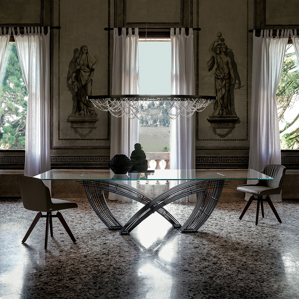glas esstisch hystrix von cattelan italia die wohn galerie. Black Bedroom Furniture Sets. Home Design Ideas