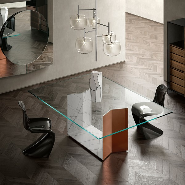 Design Esstisch T5 mit Marmor Domus White