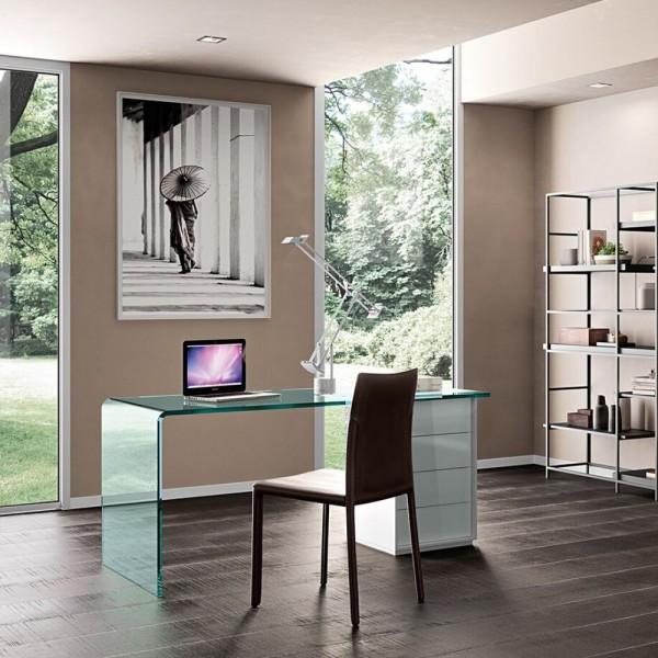 Glas Schreibtisch RIALTO-L