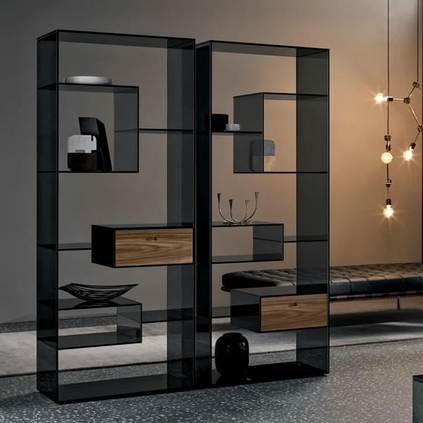 Designregal / Raumteiler aus Glas LIBER