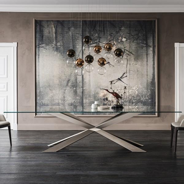 Design Glastisch Spyder Titan/Bronze