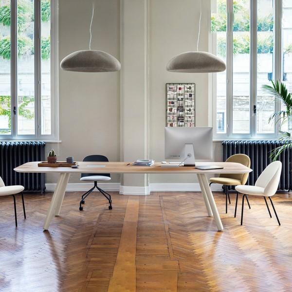 rechteckiger Designtisch PIXIE mit Holzplatte