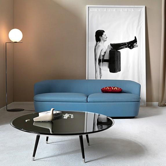 Design CouchtischRoy in Rauchglas