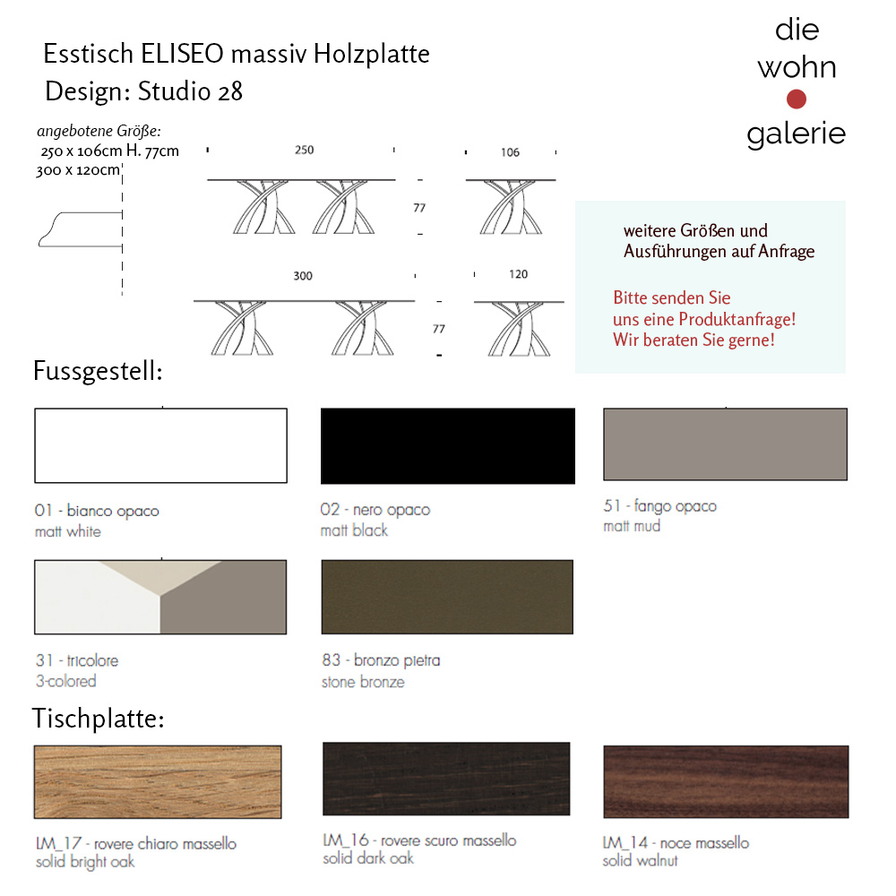 Design Esstisch BIG ELISEO Holz massiv