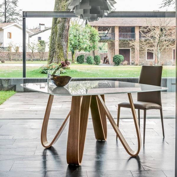 Design Glas Esstisch BUTTERFLY