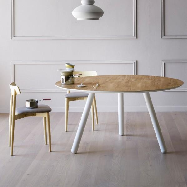 runder Designtisch PIXIE mit Holzplatte