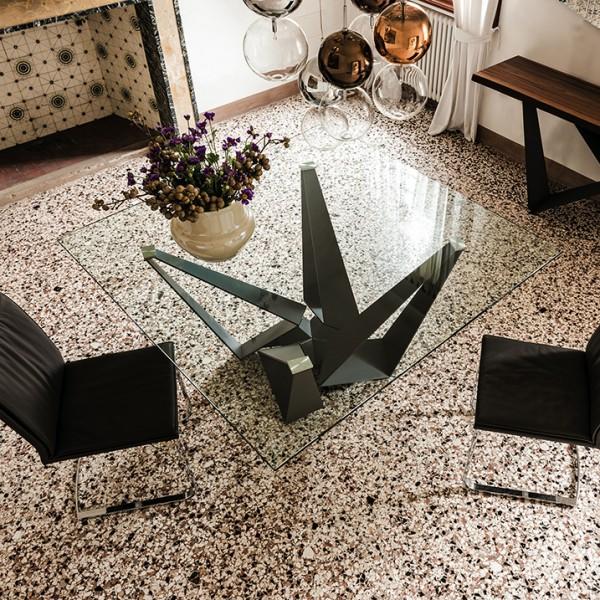 quadratischer Glasesstisch SKORPIO