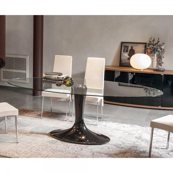 ovaler Design Glastisch IMPERIAL von Tonin Casa
